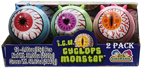 Cyclops ICU Eye Ball Jawbreaker with Rainbow Bubble Gum Center 2 Pack of 12 Ct. - Total of 24! by Kidsmania