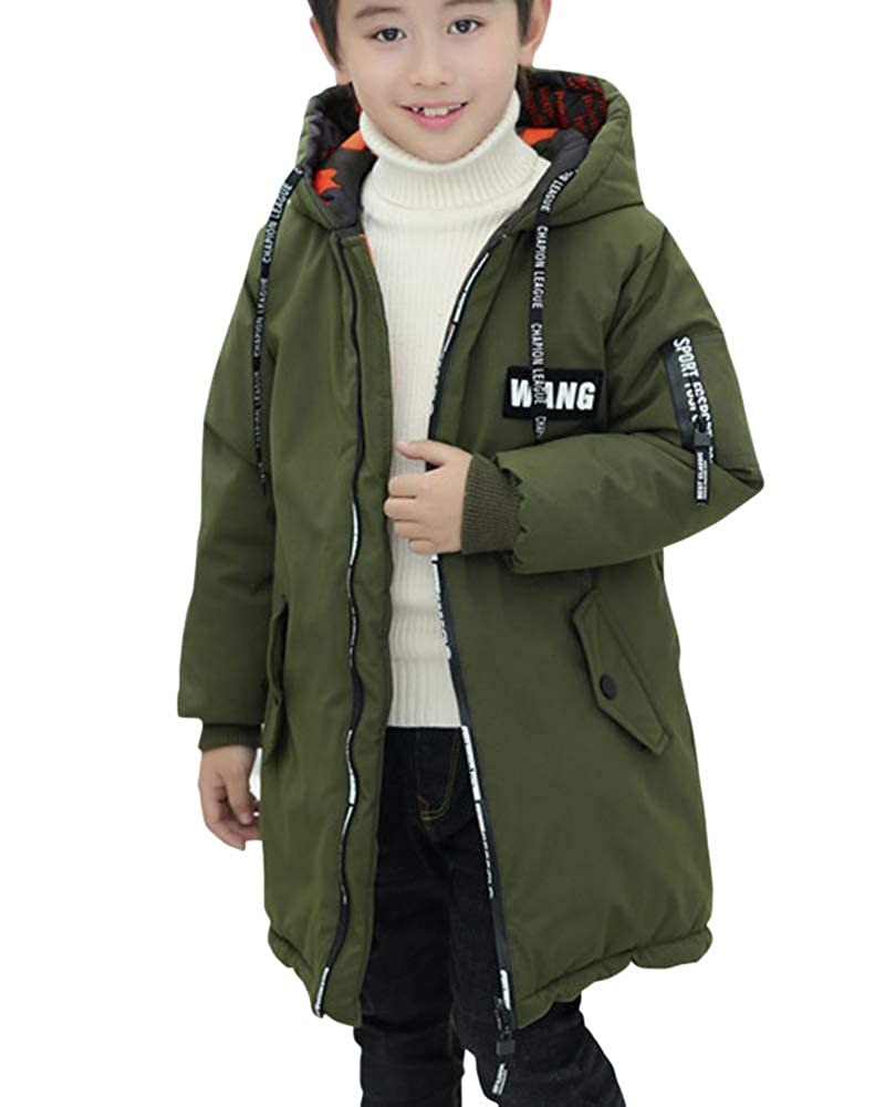 Boys Mid-Long Winter Padded Jacket Hooded Quilted Coat On Both Side