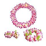 Hawaiian Luau pink flower Leis Jumbo necklaces bracelets headband set
