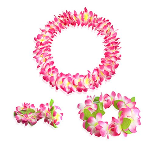 Hawaiian Luau pink flower Leis Jumbo necklaces bracelets headband set