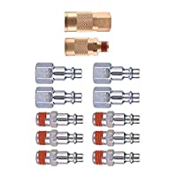 WYNNsky Air Compressor Accessories Fitting 12 Piece Coupler and Plug Kit 1/4-Inch Industrial Solid Brass Quick Connect Set