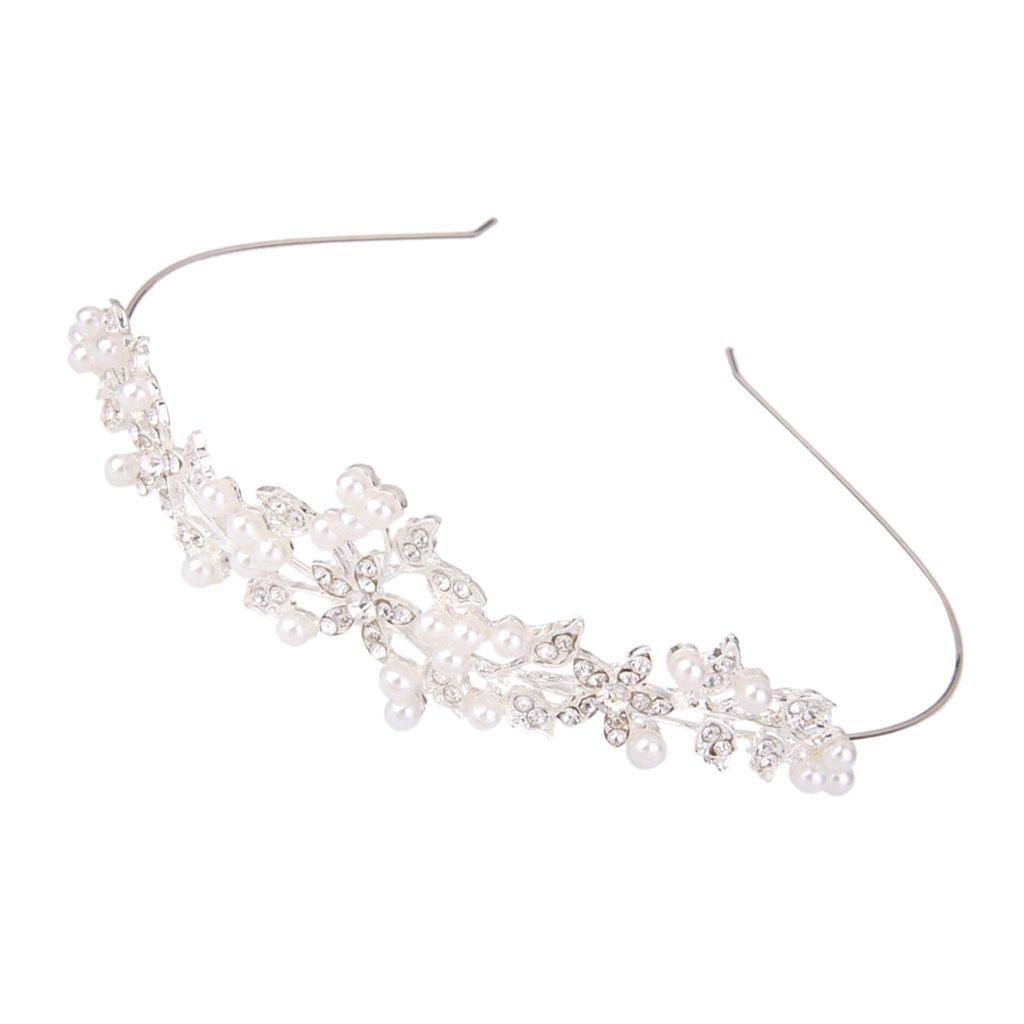 Wedding Bridal Crystal Rhinestone Pearl Decor Crown Headband Tiara Generic ESB15018045