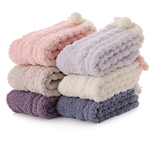 (Womens Fuzzy Slipper Socks Soft Cabin Warm Cute Cozy Fluffy Winter Christmas Slipper Socks 6 Pairs (Solid Color))