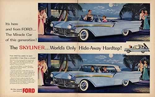 Miracle Car of this generation Ford Skyliner Hardtop Convertible ad 1957 LK