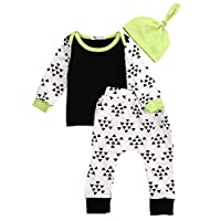 Newborn Baby Girl Boys Clothes Pattern Shirt Tops Outfit + Pants+ Hat 3pcs Se...