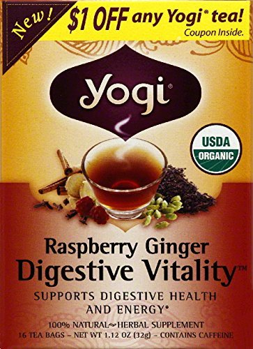 Yogi Raspberry Tea (Yogi Organic Raspberry Ginger Digestive Vitality Tea Bag - 16 per pack -- 6 packs per case.)