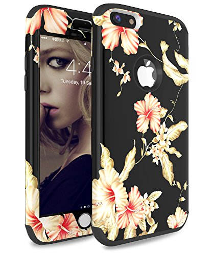 iPhone 6 Plus Case, iPhone 6s Plus Case ADCOOG [Flower] Three Layers Heavy Duty Case for Girls/Women Hybrid Protective Floral Case for iPhone 6 Plus,iPhone 6s Plus (Black+Morning Glory)