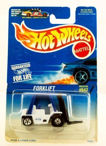 Hot Wheels - 1996 - Forklift - White & Blue - Collector #642 - Forks Moves - Limited Edition - Collectible