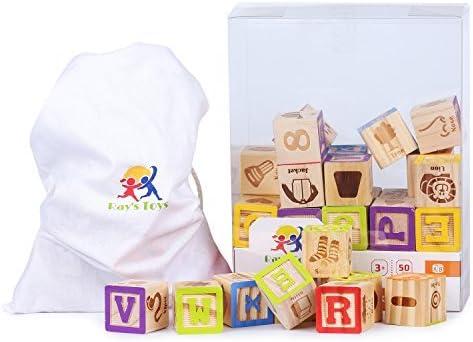 Wooden Alphabet Blocks Set Kids ABC Letters Block 30 Pieces Toddler Toy Gift