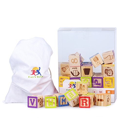 Wood Letter Cube - Ray's Toys Wooden Alphabet Blocks Set Colorful ABC & 123 Toddler Blocks w/ Cloth Storage Pouch/ Sturdy, Durable Learning Alphabet Building Blocks for Kids/ Top Educational Toy/ Great Gifting Idea