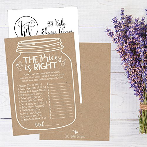 25 Rustic Guess If The Price is Right Baby Shower Game Ideas for Boys Girls Fun Party Activities Cards Best Gender Neutral Reveal Guessing Funny Questions Bundle Pack for Couples Decorations Supplies by Hadley Designs (Image #4)