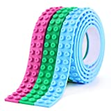 Building Block Tape 3 Rolls Self Adhesive Silicone Strips Loops Construction with LEGO for Kids