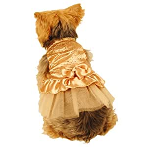 Anima Gold Satin Party Dress with Faceted Studs and Layered Tool Skirt for Dogs, Small