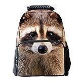 "Tricandide Children School Backpack Animal 3D print Laptop Daypacks 16"" RACCOON"
