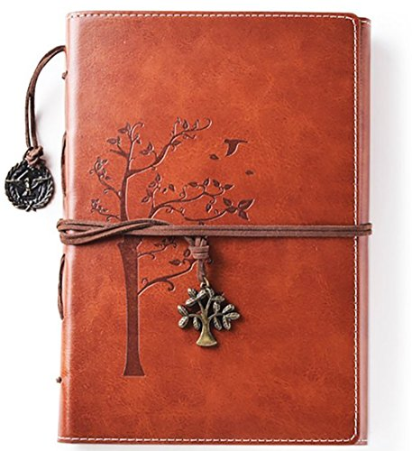 Lined Refillable Vintage Writing Journal for Women, Retro Tree of Life Faux Leather Cover Notebook/Travel Diary,Wide Ruled Paper,Daily Use Gift for Bloggers/Teachers/Students/Children