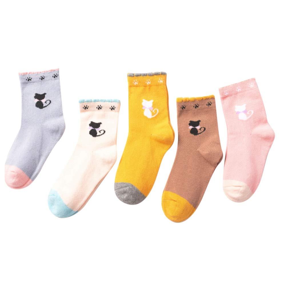 BOBORA Baby Toddler Kids Girls Boys Cartoon Pattern Cotton Sports Short Socks Christmas Socks for 1-12Years 5Pairs Pack BON-N-2020ZM176