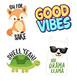 Imagine Stickers Cute Vinyl Sticker Variety Bundle - 4 Stickers (Oh for Fox Sake - Shell Yeah! - No Llama Drama - Good Vibes) - 2 x 3 Inch Weatherproof Removable Stickers for Laptops - Cell Phone - Helmets