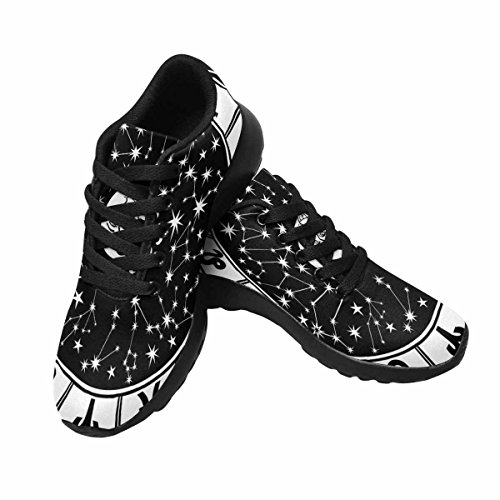 InterestPrint Womens Trail Running Shoes Athletic Sneakers The Horoscope Circle With Zodiac Signs and Constellations Of The Zodiac Sun and Moon Retro Style Black and White Multi 1 DLKZ5QgTcK