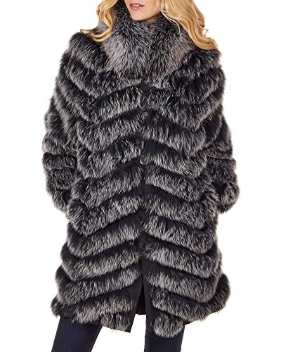 Reversible Silk Coat (Reversible Silk Coat With Fox Fur In Frost - Medium)