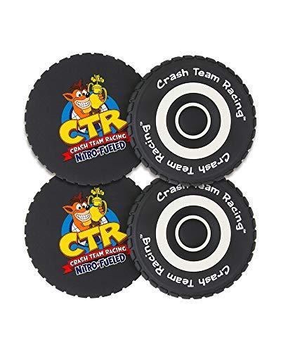 Crash Team Racing, Official Crash Bandicoot Merchandise - CTR Nitro-Fueled Tire Coasters (Set of 4)