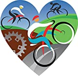 Love Cycling Heart Home Decal Vinyl Sticker 12'' X 12''