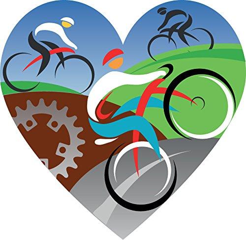 Love Cycling Heart Home Decal Vinyl Sticker 12'' X 12''