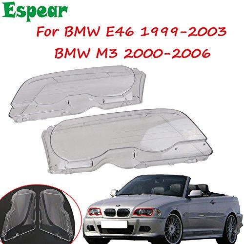 Halogen Headlight lens Cover shell for BMW E46 (2000-2003) M3 323ci 325ci 328ci 330ci (E46 Headlight Left Lens)