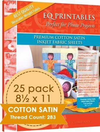 EQ Printables Premium Cotton SATIN Inkjet Fabric Sheets 8.5' x 11', 25-pack