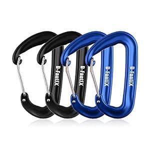 D-FantiX 12KN Wiregate Carabiner for Hammocks, Aluminum Carabiner Clip Camping Hiking Traveling Black Blue Set of 4