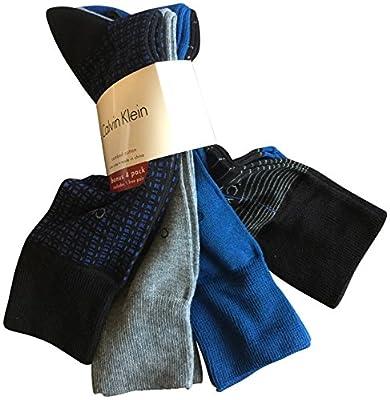 Calvin Klein Men's Dress Socks Cotton 4 Pack Striped Grey Blue