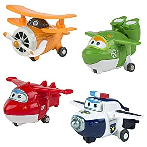 Super Wings Lote 4 transformables: Jett, Mira, Paul y Grand Albert (ColorBaby 75866)