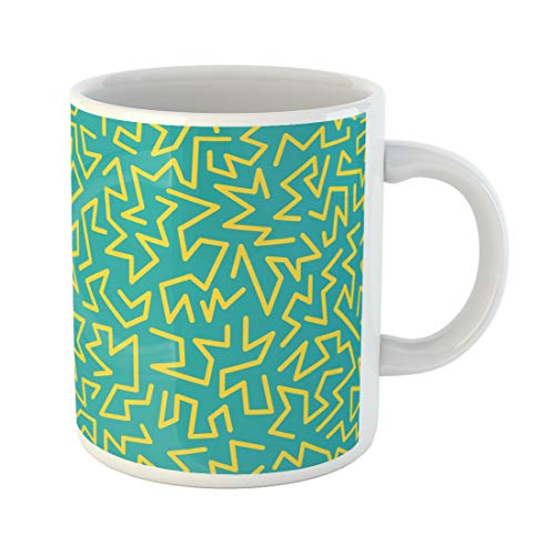 (Semtomn Funny Coffee Mug Memphis Inspired By 80S 90S Retro Colorful Festive Hipster 11 Oz Ceramic Coffee Mugs Tea Cup Best Gift Or)
