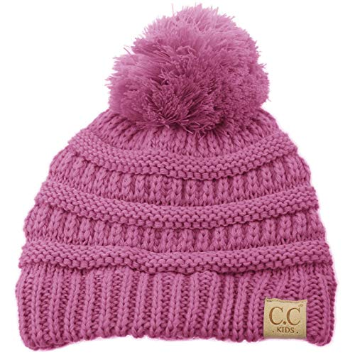 Kids Ages 2-7 Pompom Chunky Thick Stretchy Knit Slouch Beanie Cap Hat New Lavender
