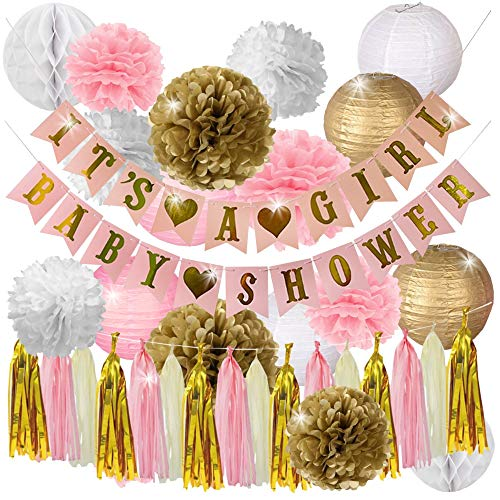 Pink and Gold Baby Shower Decorations for Girl-