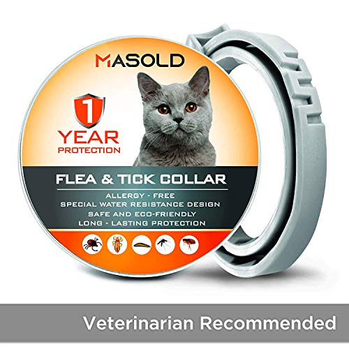 MASOLD Flea Collar for Cats - 12 Months Protection Flea Tick Collar - Adjustable, Safe and Waterproof Cat Flea Control Collar - All Natural [Upgrade Version]