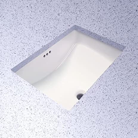 ProFlo PF1812U Rectangular 19u0026quot; Undermount Bathroom Sink, Biscuit