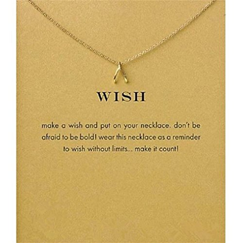 Myhouse Women Necklace Chain Wishing Bone Shape Pendant Gold Plated Clavicle Necklace