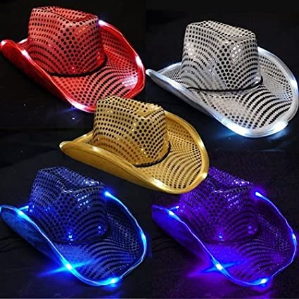 14c8d93dd Image Unavailable. Image not available for. Color  GLOW Novelty Light Up  Cowboy Hat ...