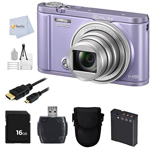 Casio Exilim EX-ZR3600 EX-ZR3600VT Selfie Digital Camera (Violet) + 16GB Memory Card + Reader + Camera Case + Micro HDMI Cable & More