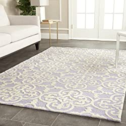 Safavieh Cambridge Collection CAM133C Handcrafted Moroccan Geometric Lavender and Ivory Premium Wool Area Rug (4' x 6')