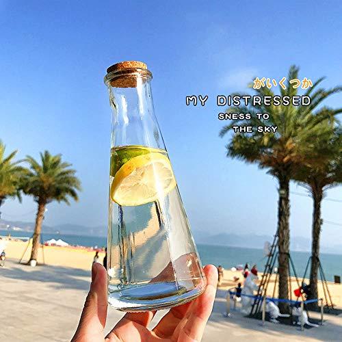 Shop Cafe Bottle (Culturemart Summer Cone Drifting Glass Water Bottles Cold Juice Lemon Milk Tea Shop Cafe Water Bottle Retro Wooden Stopper Drinkware)