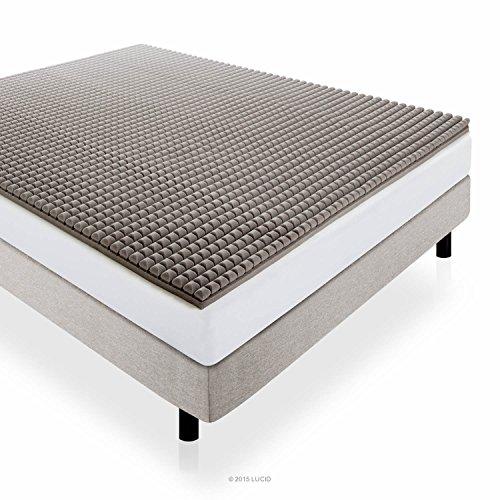 lucid 2 inch bamboo charcoal ultra ventilated memory foam mattress topper queen size