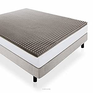 LUCID 2 Inch Bamboo Charcoal Ultra Ventilated Memory Foam Mattress Topper - Cal King Size