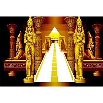 AOFOTO 8x6ft Golden Egyptian Pharaoh Ancient Sphinx Backdrop Abstract  Pyramid Stairway Photography Background Egypt Queen Kid Boy Girl Portrait