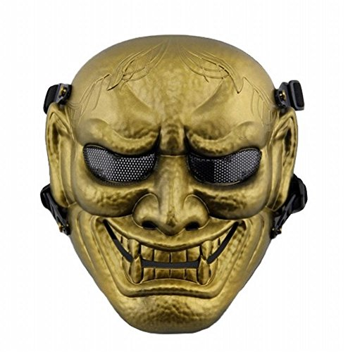 [POJ Japanese Hannya Mask [ Color Gold / Silver / Red / Green ] Japan Cosplay (Gold)] (Halloween Little Dead Riding Hood Costume)