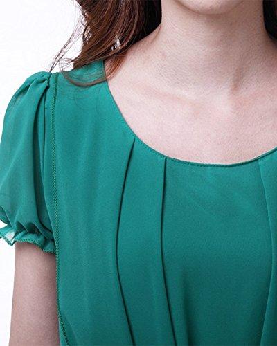 Mujeres Maxi Vestido Gasa Manga Corta Vestido de Fiesta con Cinturón Verde