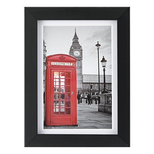 UPGRADED 5x7 Picture Frame Black with 1 Mat for 4x6 Document, Wood Picture Photo Frame Tempering Glass(Horizontal or Vertical - Thick Black Pictures