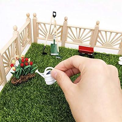 Binory 4pcs Mini Garden Tools Shovel Rake Cart Watering Can Decor for 1/12 Dollhouse Furniture and Accessories, Modern Design Miniature Fairy Garden Kids Pretend Toy,Creative Birthday Handcraft Gift: Toys & Games