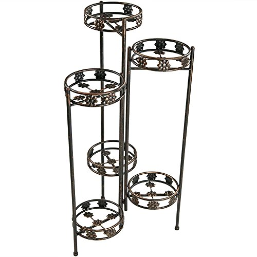 Sunnydaze 6-Tiered Folding Metal Plant Stand, Sturdy Indoor/Outdoor Flower Pot Holder, 45 Inch ()