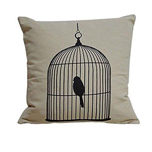 he2naoly新しい正方形シンプルなスロー枕カバークッションカバー鳥かご装飾枕カバーヴィンテージリネンブレンド高Qulity枕プロテクター45 cm45 cm  B07FVW8Y1P